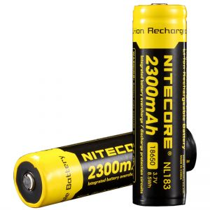 Rechargeable battery Litium Li-Ion 18650 Nitecore NL183 3.7V (2300mAh), protected